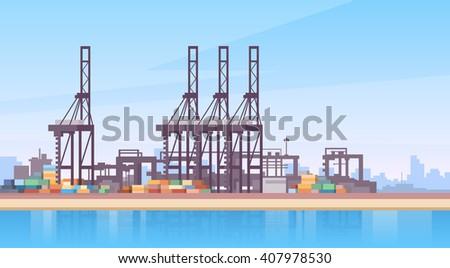 Industrial Sea Port Cargo Logistics Container Ship Crane Flat Vector Illustration - stock vector