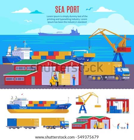 Industrial Sea Port Composition Dock Template Stock Vector 549375679 ...