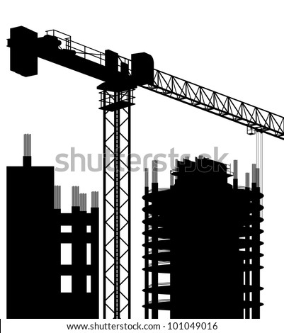 Industrial skyscraper city and crane landscape skyline background illustration vector