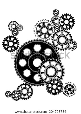 industrial still life - arrangement of gears, isolated on white  - stock vector