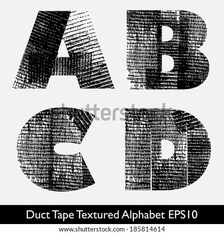 Industrial Style, Duct Tape, Tire Track Alphabet Vector. ABCD - stock vector
