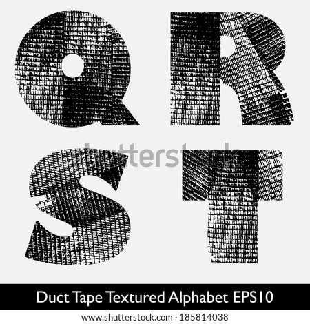 Industrial Style, Duct Tape, Tire Track Alphabet Vector. QRST