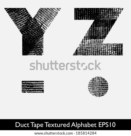 Industrial Style, Duct Tape, Tire Track Alphabet Vector. YZ - stock vector