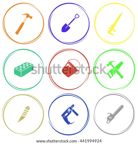 Industrial tools set. Internet button. Vector icons. - stock vector