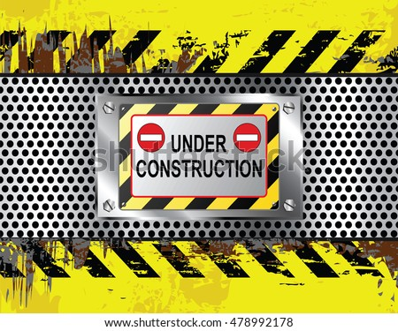 Industrial under construction sign grungy background vector illustration