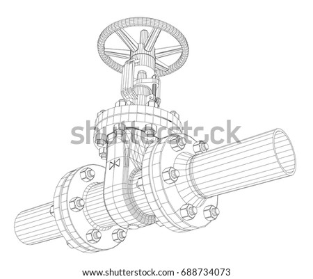 Industrial Valve Detailed Vector Illustration On White Background Rendering Of 3d Wire