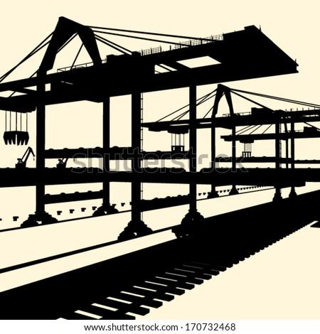 industrial vector silhouette - stock vector