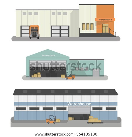 Industrial Warehouse building with transportation vehicles .flat icons set, isolated vector illustration - stock vector