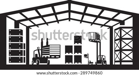 Industrial warehouse scene - vector illustration - stock vector