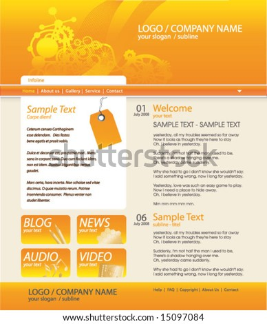 industrial website template. all editable vector elements. - stock vector
