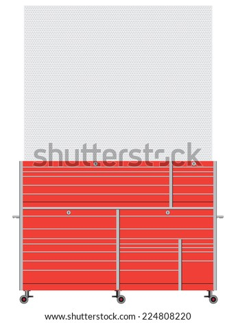 Industrial workbench with drawers and back for holding tools. Vector illustration. - stock vector