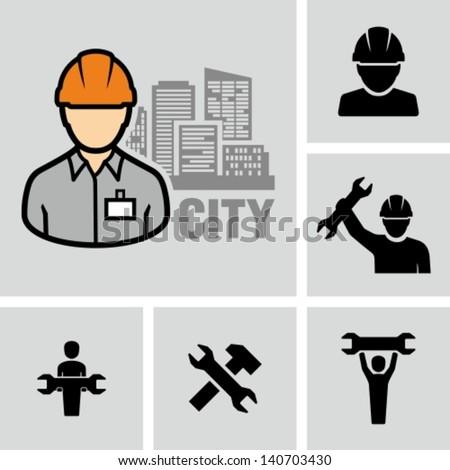 Industrial worker - stock vector