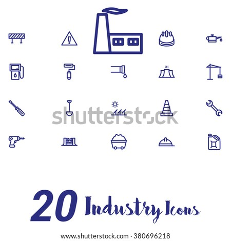 Industry and factory Icons on white background - stock vector