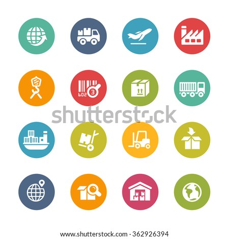 Industry and Logistics // Fresh Colors Series ++ Icons and buttons in different layers, easy to change colors ++ - stock vector