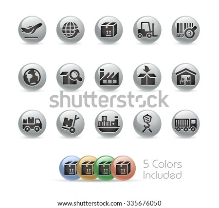 Industry and Logistics Icons // Metal Round Series -- The vector file includes 5 color versions for each icon in different layers. - stock vector