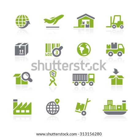 Industry and Logistics Icons // Natura Series - stock vector