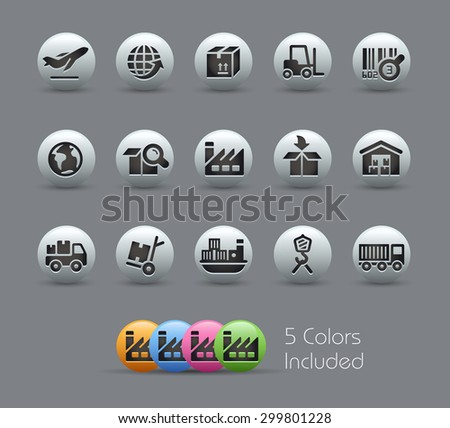 Industry and Logistics Icons // Pearly Series ----- The Vector file includes 5 color versions for each icon in different layers ----- - stock vector