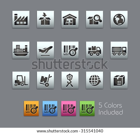 Industry and Logistics Icons  The vector file includes 5 color versions for each icon in different layers ---- - stock vector