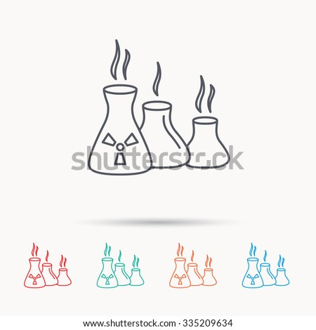 Industry building icon. Manufacturing sign. Chemical toxic production symbol. Linear icons on white background.