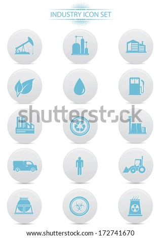 Industry buttons on white background,blue version,vector - stock vector