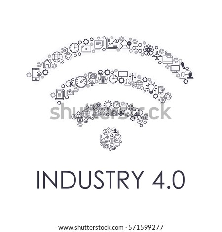 Industry 4.0 Concept Business Control, Modern Thin Line Icon Presentation Design. Internet of Things, Cloud Computing, Network, Future, Automation Detailed Illustration. Flat Web Infographics Elements