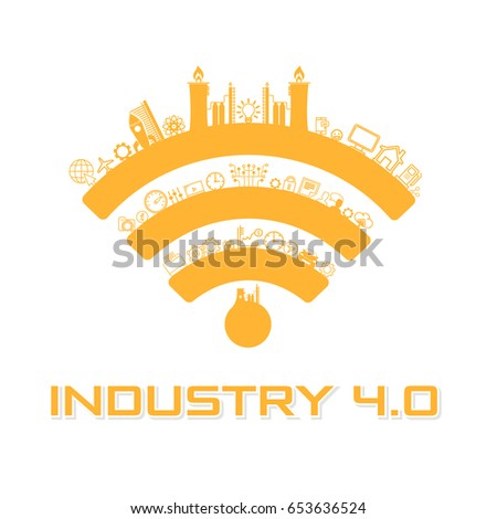 Industry 4.0 Concept Business Control or Logo, Modern Thin Line Icon Presentation Design