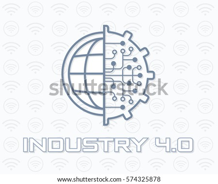 Industry 4.0 Concept Business Control or Logo, Modern Thin Line Icon Presentation Design. Internet of Things, Cloud Computing, Network, Future, Automation Illustration. Flat Web Infographics Elements