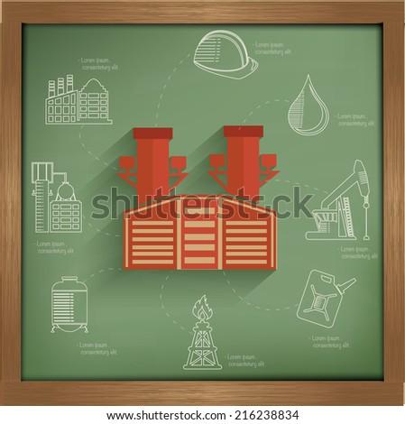 Industry concept design on blackboard background,clean vector - stock vector
