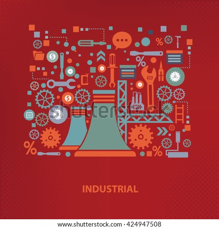 Industry concept design on red background,vector - stock vector