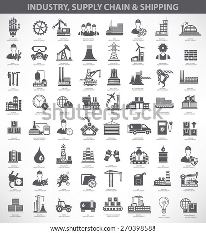 Industry,construction and engineer icon set, black version - stock vector