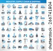 Industry,construction and engineer icon set,blue version,clean vector - stock photo