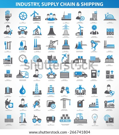 Industry,construction and engineer icon set,blue version,clean vector