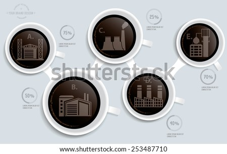 Industry,factory on coffee info graphic design,clean vector - stock vector