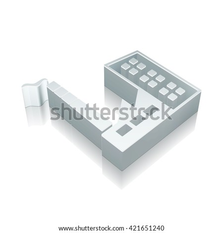 Industry icon: 3d metallic Industry Building with reflection on White background, EPS 10 vector illustration. - stock vector