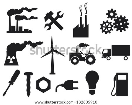 industry icons collection (power plug, screwdriver, industrial plant, nuclear power plant, nuclear power plant, growing gears, light bulb, metal nut, tractor, truck, wrenches and hammer) - stock vector