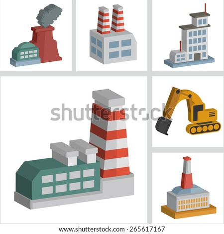 Industry icons design,three dimension,clean vector