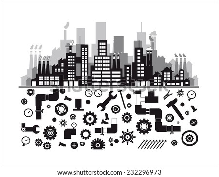 Industry  >> Industry Icons Over White Background Vector Stock Vector 2018