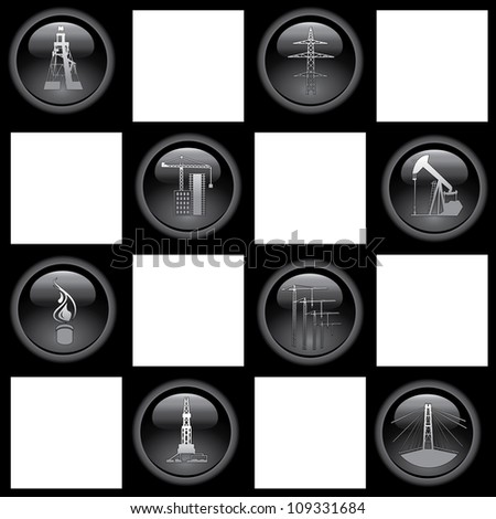 Industry icons. Set of the eight icons over chess. Vector illustration. - stock vector