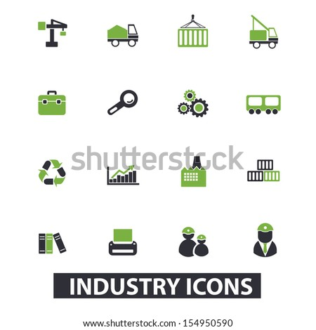 industry icons, signs set, vector - stock vector