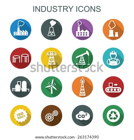 industry long shadow icons, flat vector symbols - stock vector