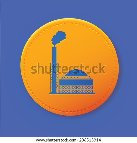 Industry symbol on yellow button,vector - stock vector