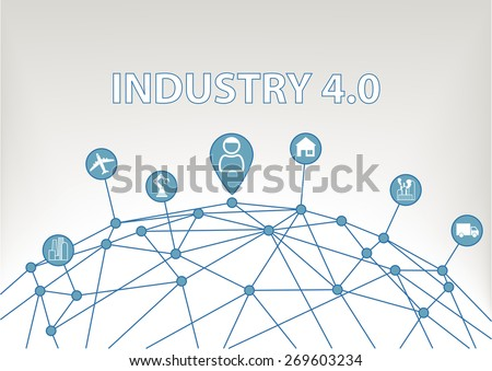 Industry 4.0 vector illustration background with world grid and consumer connected to devices like industrial plants, robots, transportation, airplanes and smart home - stock vector