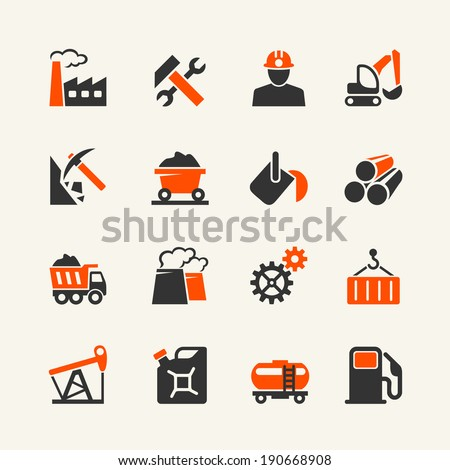 Industry web icon set - stock vector