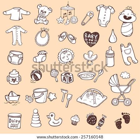 Infant Icon set  - stock vector