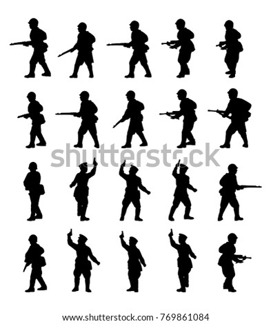 Infantry. Soldiers silhouettes set