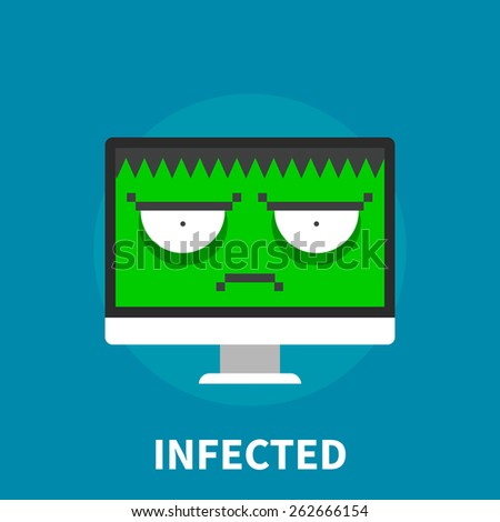 Infected computer - isolated flat vector illustration. - stock vector