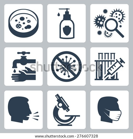 Infection, virus related vector icon set - stock vector