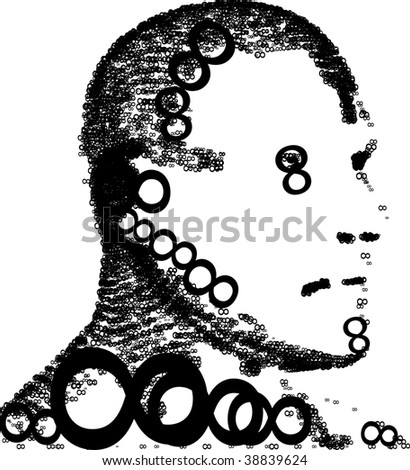 Infinite face. Expression of eight's. One type of one style. - stock vector