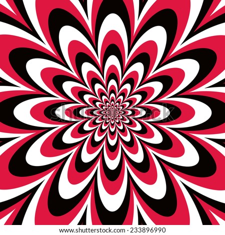 Infinite Flower op art design in red, black and white. Colors are grouped for easy editing. - stock vector