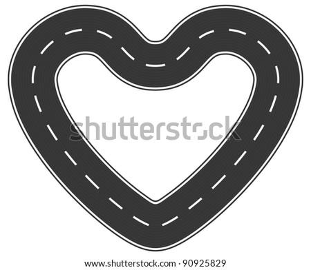 Infinite heart asphalt road of love - stock vector